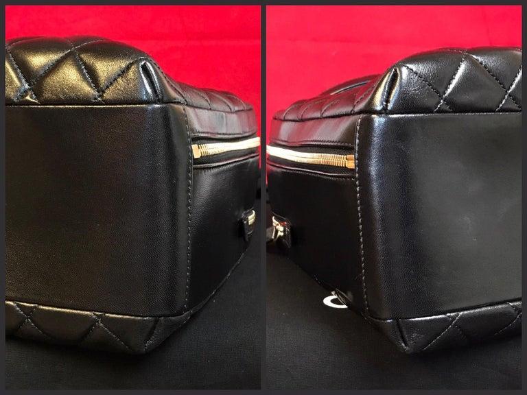 CHANEL CC bowling bag / shoulder bag black quilted lambskin 2016 For Sale 3