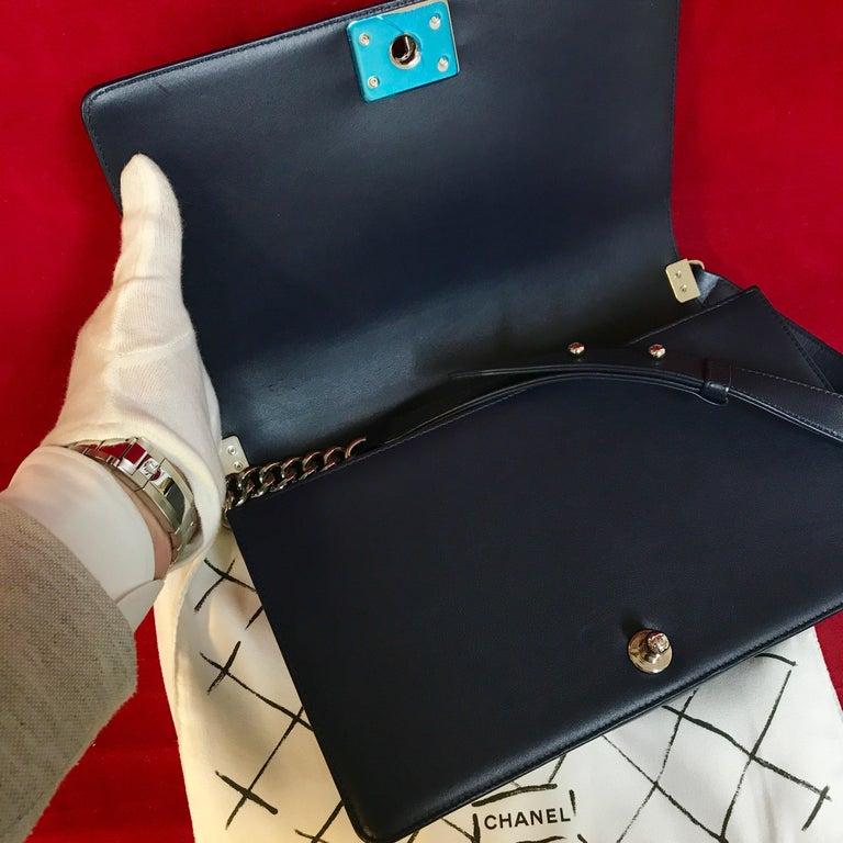 CHANEL Boy New Medium navy blue shoulder bag chevron lambskin 2016 For Sale 2
