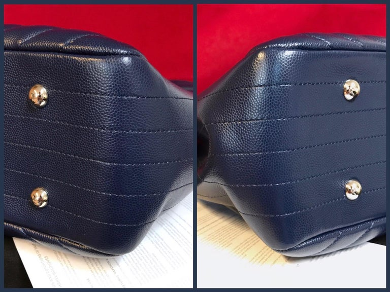 Large CHANEL CC Shopping Bag/Shopper chain chevron lambskin navy blue 2016 For Sale 1