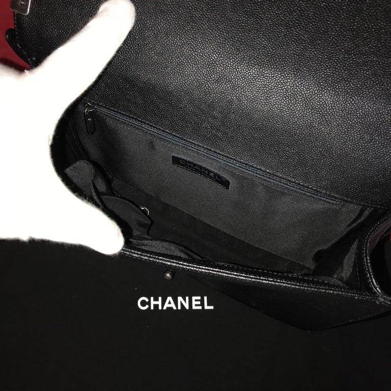 CHANEL Large Boy shoulder bag black quilted caviar / calfskin 2016 For Sale 2