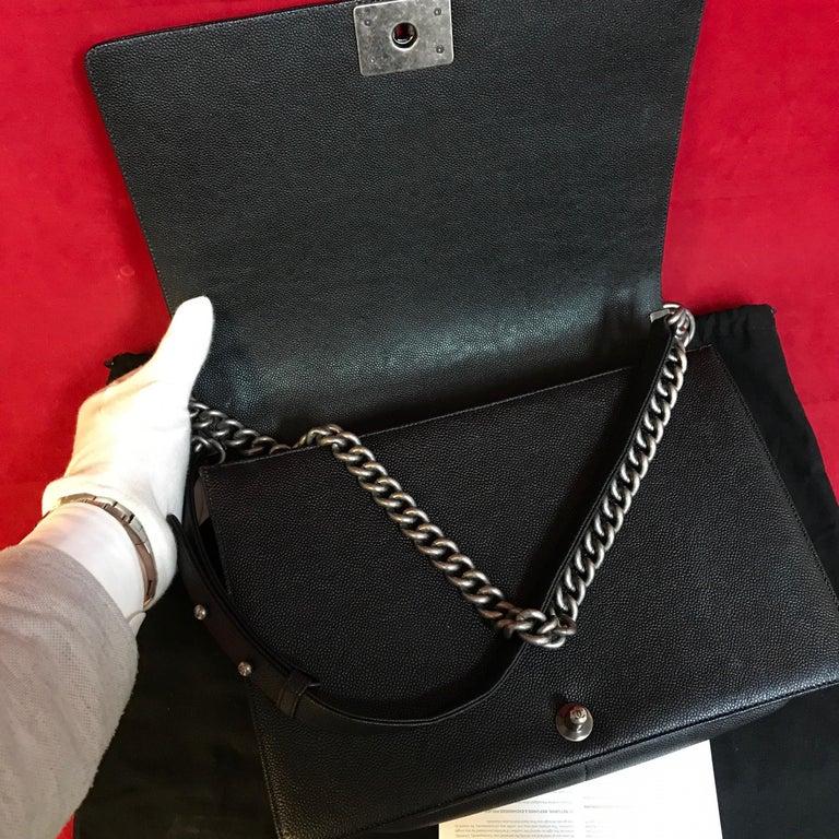 CHANEL Large Boy shoulder bag black quilted caviar / calfskin 2016 For Sale 1
