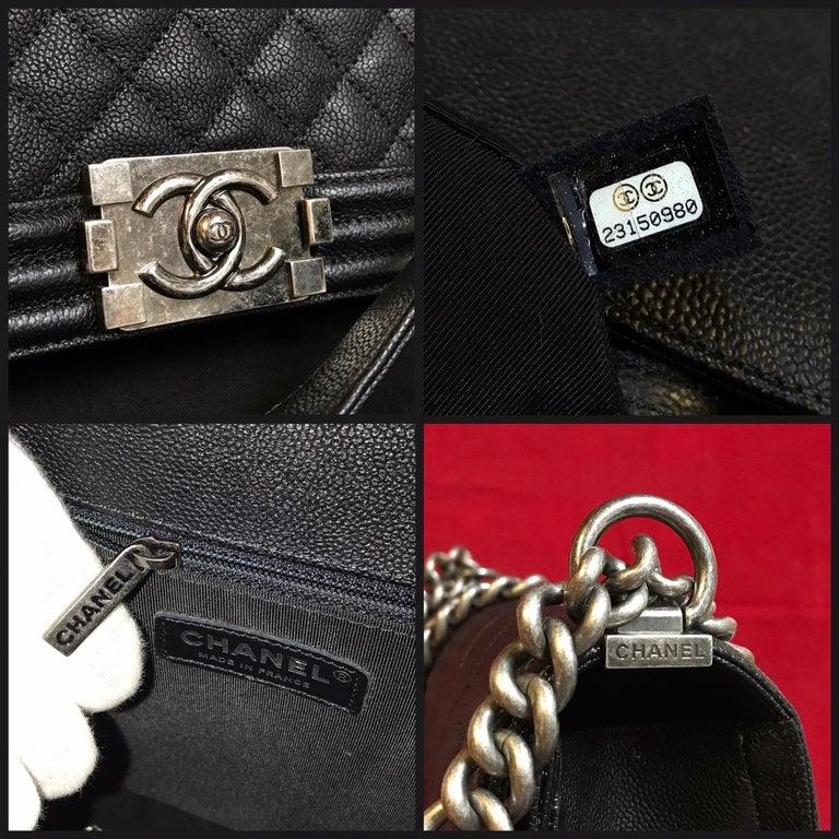CHANEL Large Boy shoulder bag black quilted caviar / calfskin 2016 For Sale 3