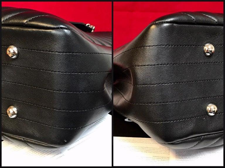 Large CHANEL CC Shopping Bag/Shopper chain chevron lambskin black 2016 For Sale 1