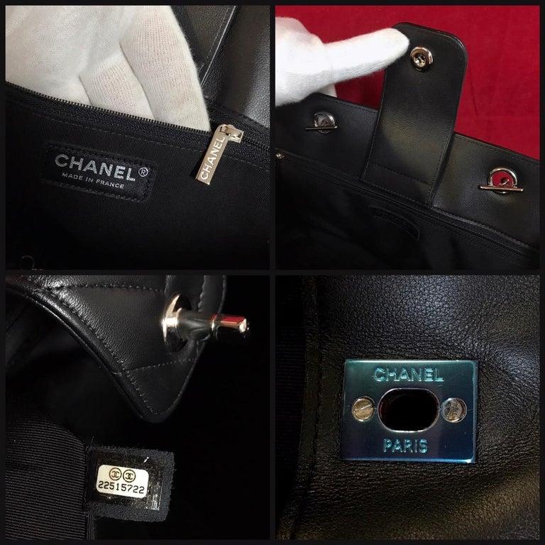 Large CHANEL CC Shopping Bag/Shopper chain chevron lambskin black 2016 For Sale 3