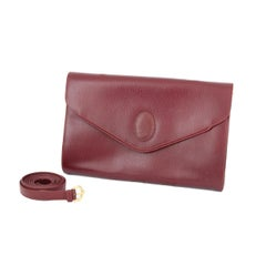 Must De Cartier Shoulder Bag Leather Vintage Burgundy Italian 1980s