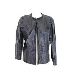 Gianni Versace Leather Jacket Embroidered Blue Short Bolero 1980s