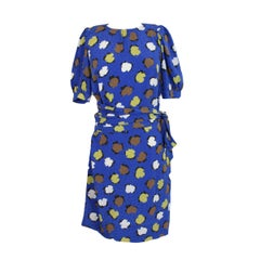 Yves Saint Laurent Floral Polka Dot Dress Silk Vintage Blue, 1980s