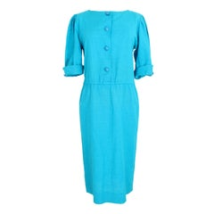 Yves Saint Laurent Cocktail Tunic Dress Linen Silk Vintage Light Blue, 1980s