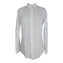 Pierre Cardin Creation Lace Floral Shirt Cotton Vintage White, 1970s