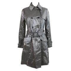Giorgio Armani Trench Raincoat Glossy Effect Linen Check Vintage Gray, 1990s