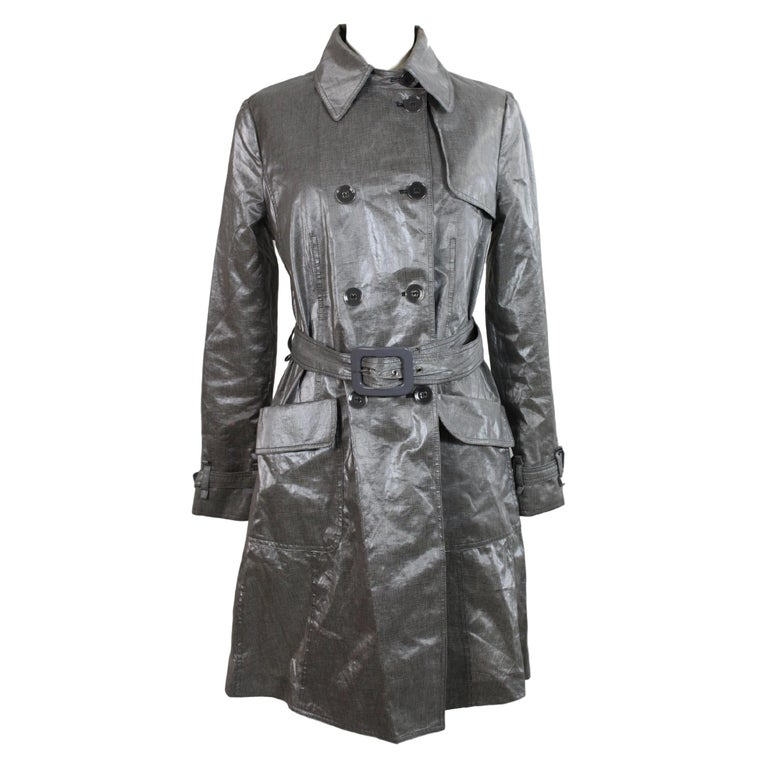 Giorgio Armani Trench Raincoat Glossy Effect Linen Check Vintage Gray, 1990s For Sale