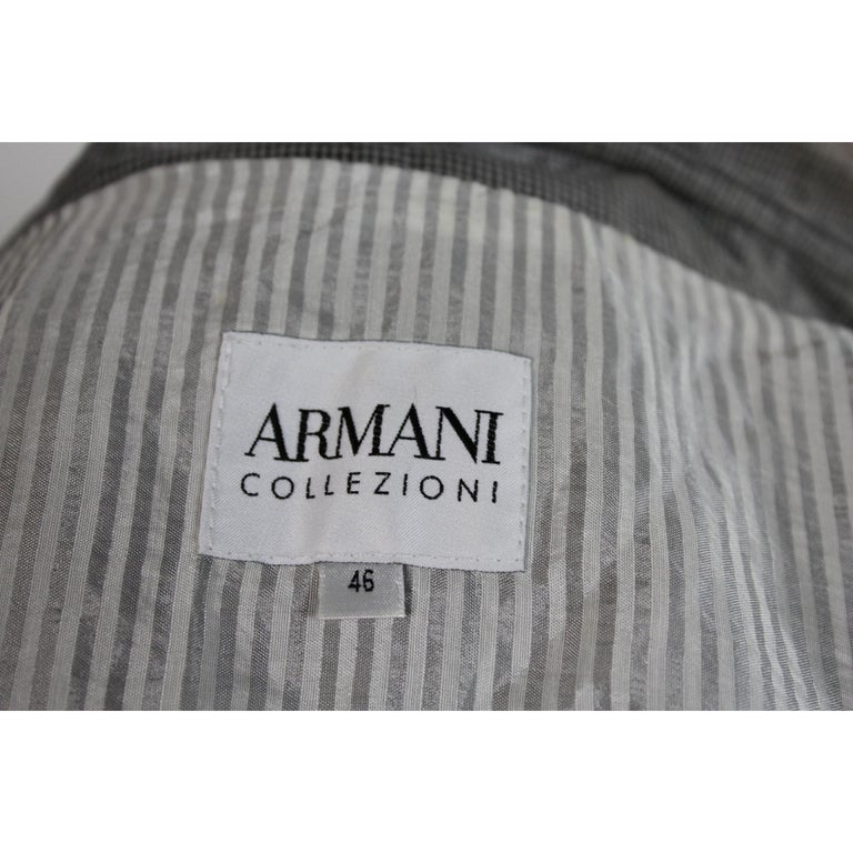 Giorgio Armani Trench Raincoat Glossy Effect Linen Check Vintage Gray, 1990s For Sale 4