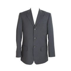 Valentino Roma Jacket Pinstripe Wool Vintage Blue Gray, 1990s