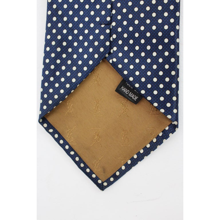 Black Yves Saint Laurent Tie Polka Dot Handmade Silk Vintage Blue, 1990s For Sale