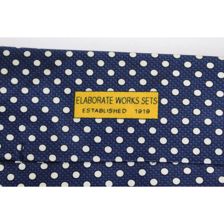 Yves Saint Laurent Tie Polka Dot Handmade Silk Vintage Blue, 1990s In Excellent Condition For Sale In Brindisi, Bt