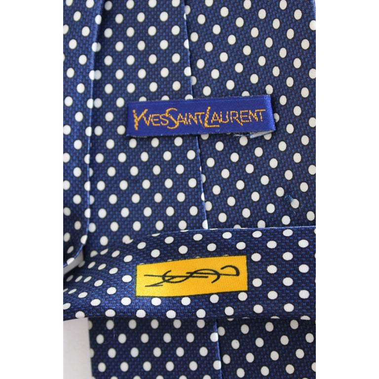 Men's Yves Saint Laurent Tie Polka Dot Handmade Silk Vintage Blue, 1990s For Sale
