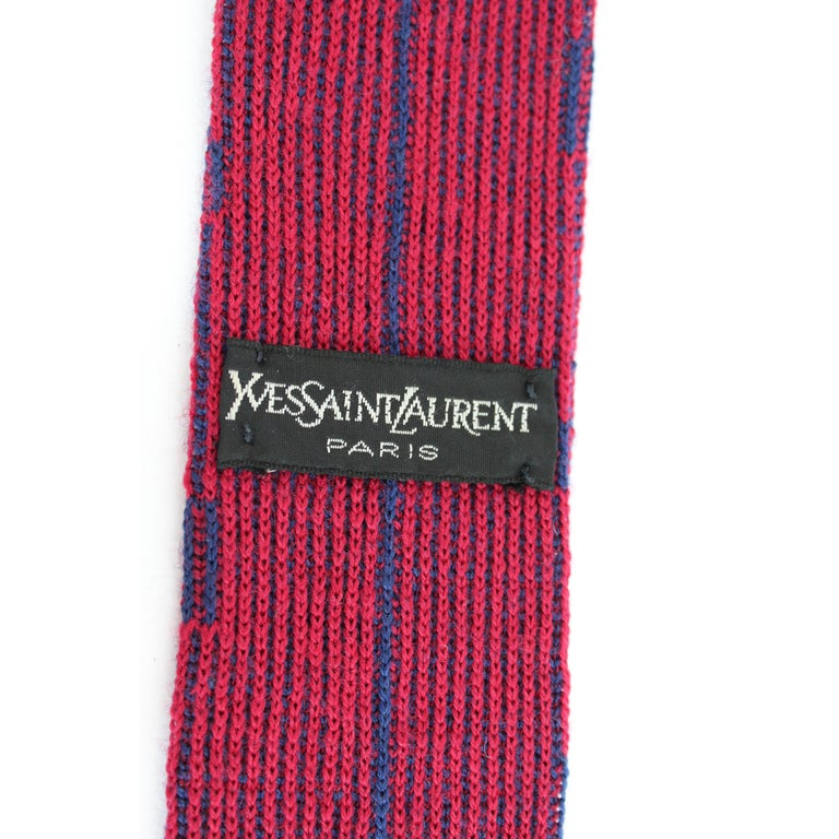 Yves Saint Laurent Pinstripe Tie Wool Vintage Blue Red, 1990 In Excellent Condition For Sale In Brindisi, Bt
