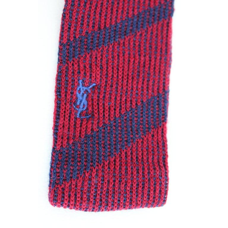 Yves Saint Laurent Pinstripe Tie Wool Vintage Blue Red, 1990 For Sale 1