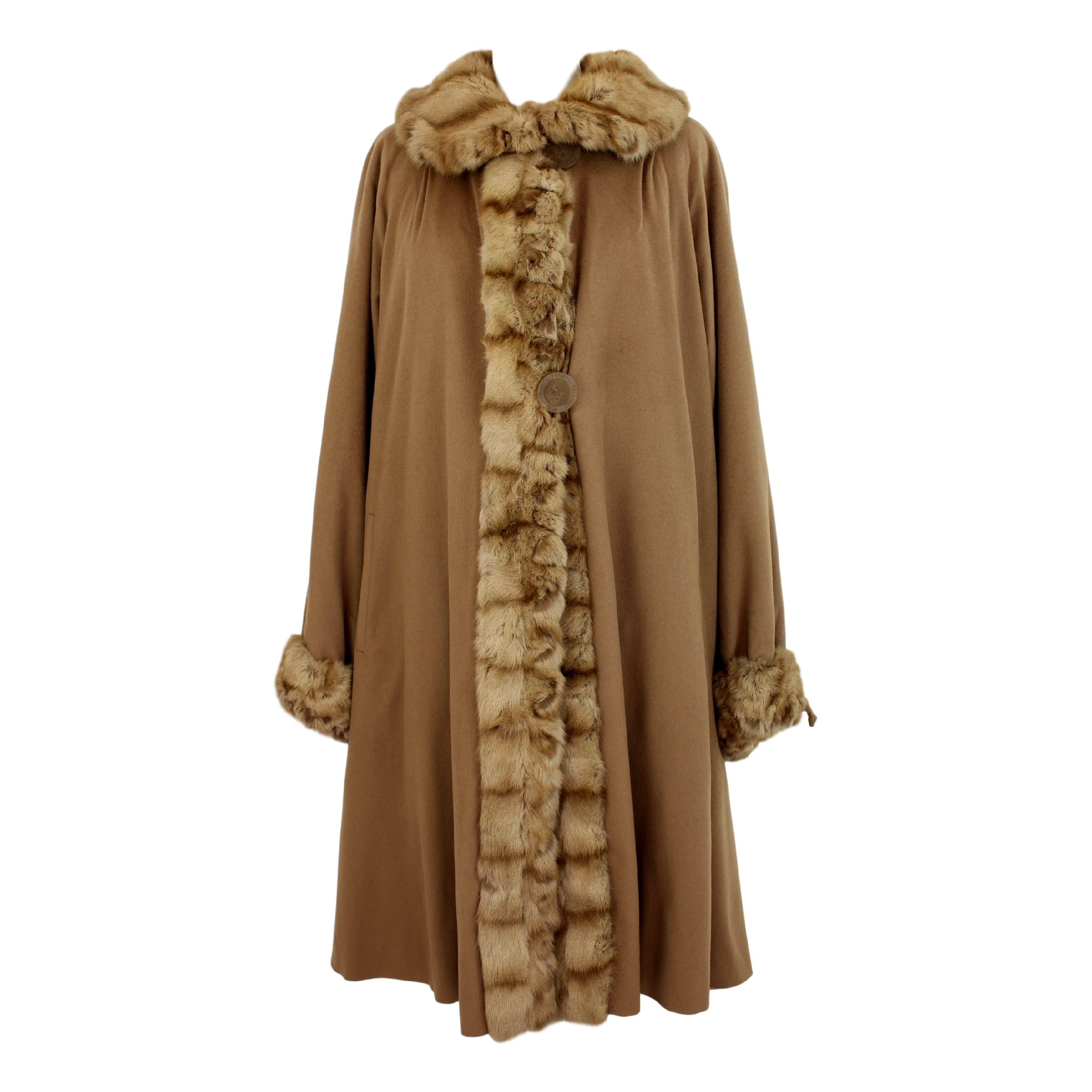 dcdaeb12 1970s Fendi Beige Fur Sable Camel Hair and Silk Coat