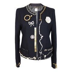 Moschino Blue Vintage Wool Jewerly Chain and Pearls Jacket, 1990s
