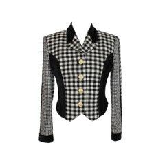 Gianni Versace Jacket Pied De Poule Wool Check Vintage Black White, 1980s