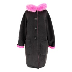 Escada Coat Fur Fox Reversible Wool Angora Vintage Black Pink, 1980s