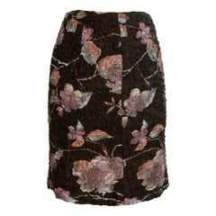 Miu Miu Short Skirt Floral Silk Damask Vintage Brown, 2000s