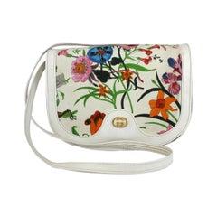 Gucci Flora Boutique Shoulder Bag Silk Leather Vintage White, 1970s