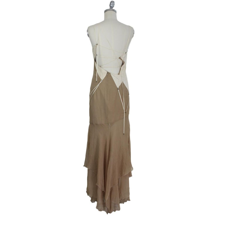 Brown Angelo Mozzillo Dress Silk Long Maxi Evening Vintage Beige, 1990s For Sale