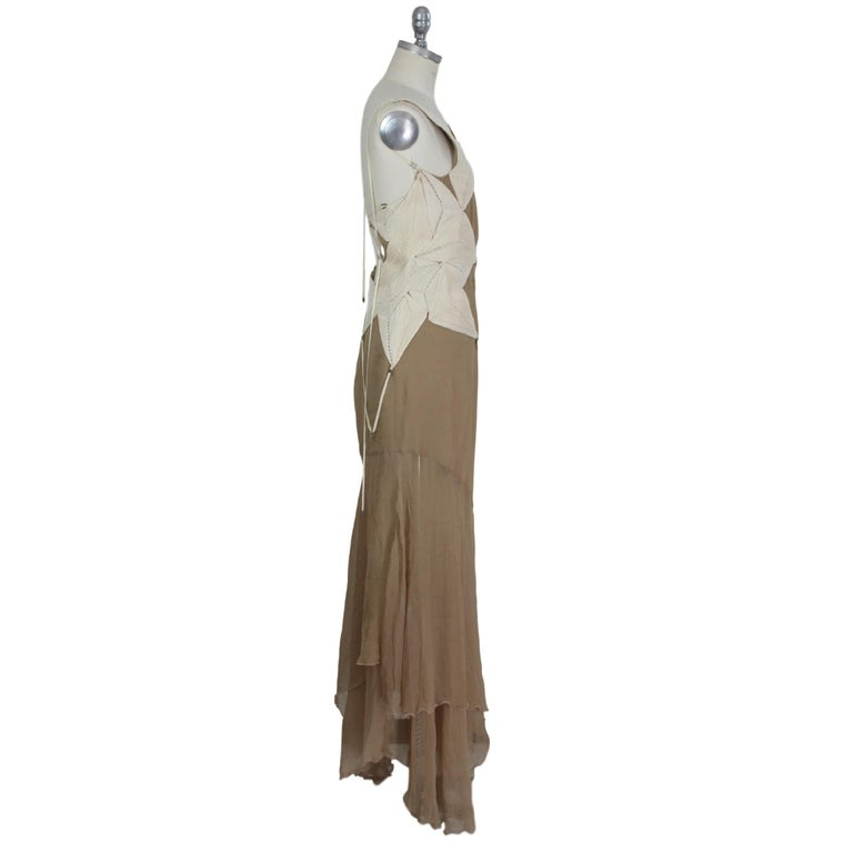 Angelo Mozzillo Dress Silk Long Maxi Evening Vintage Beige, 1990s In Excellent Condition For Sale In Brindisi, Bt
