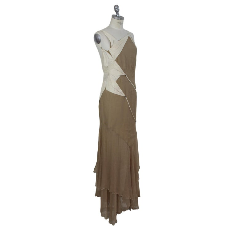 Angelo Mozzillo Dress Silk Long Maxi Evening Vintage Beige, 1990s For Sale 1