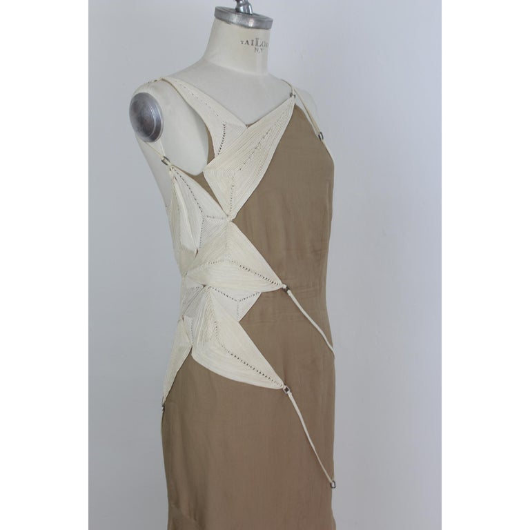 Angelo Mozzillo Dress Silk Long Maxi Evening Vintage Beige, 1990s For Sale 2