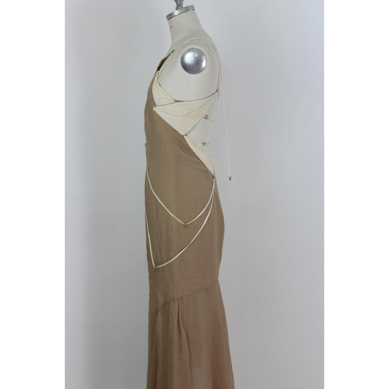 Angelo Mozzillo Dress Silk Long Maxi Evening Vintage Beige, 1990s For Sale 3