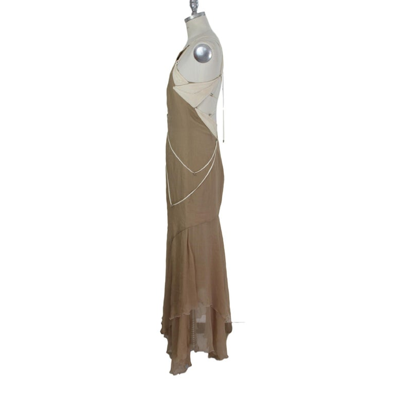 Angelo Mozzillo Dress Silk Long Maxi Evening Vintage Beige, 1990s For Sale 4