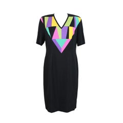 1980s Louis Feraud Cocktail Dress Geometric Silk Vintage Black