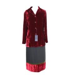 New 1990s Burberry Skirt Suit Dress Red Black Green Velvet