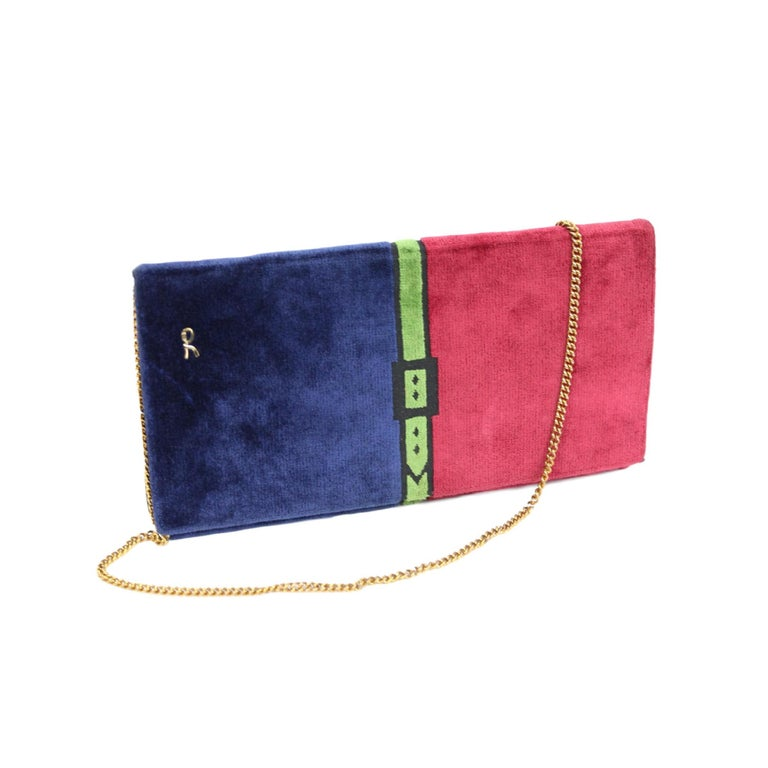 1980s Roberta Di Camerino Bag Purse Velvet Vintage Red Blue For Sale