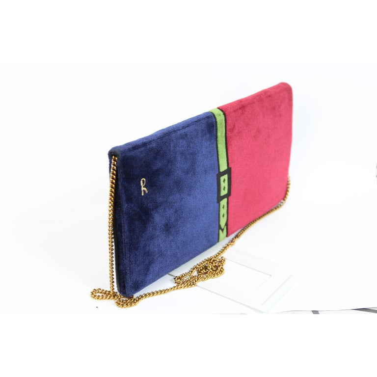 Purple 1980s Roberta Di Camerino Bag Purse Velvet Vintage Red Blue For Sale