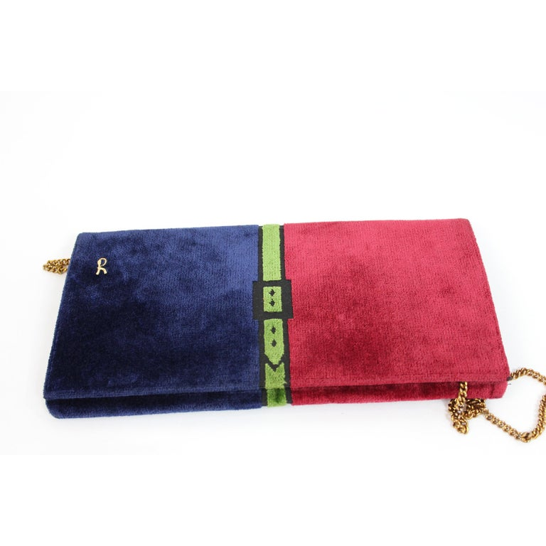 1980s Roberta Di Camerino Bag Purse Velvet Vintage Red Blue In Excellent Condition For Sale In Brindisi, Bt
