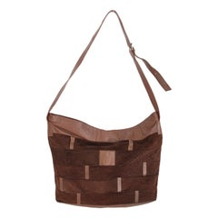 1980s Ted Lapidus Paris Tote Bag Brown Vintage Leather Suede