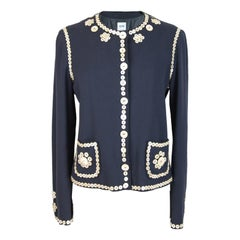 1990s Moschino Blue Wool Mother Pearl Buttons Embroidered Jacket Blazer