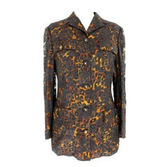 1980s Istante by Gianni Verscae Leopard Floral Black Silk Lace Jacket