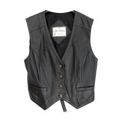 1980s Valentino Black Leather Biker Vest Jacket