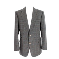 1980s Burberry Green Black Tweed Wool Jacket