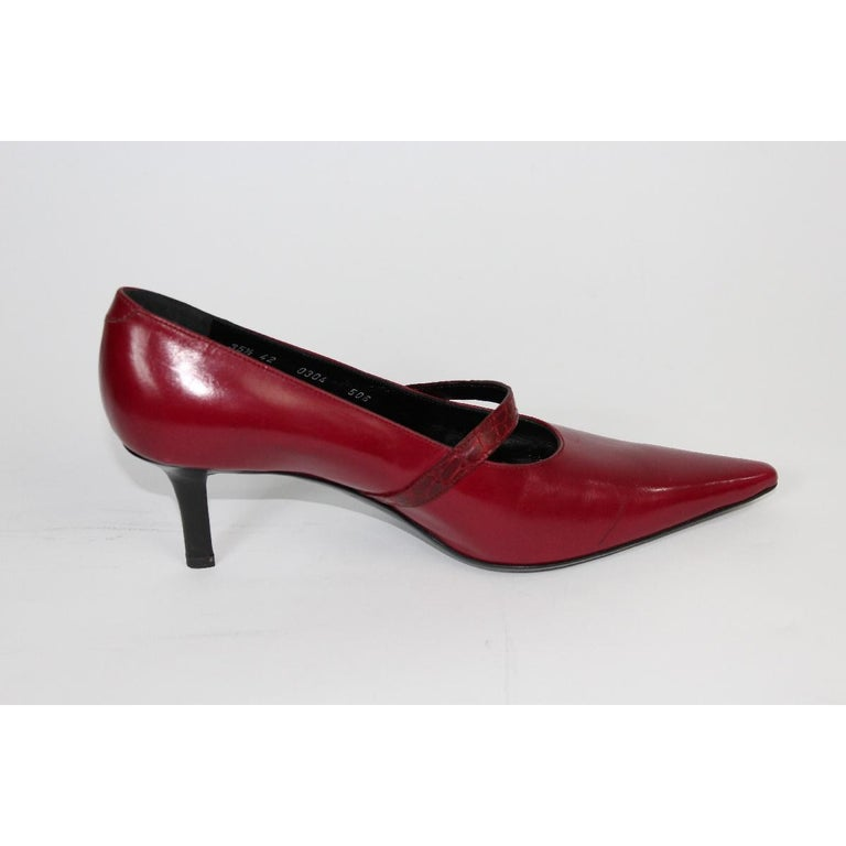 Brown 1980s Roberta Di Camerino Red Leather Pumps Heels Shoes NWT For Sale