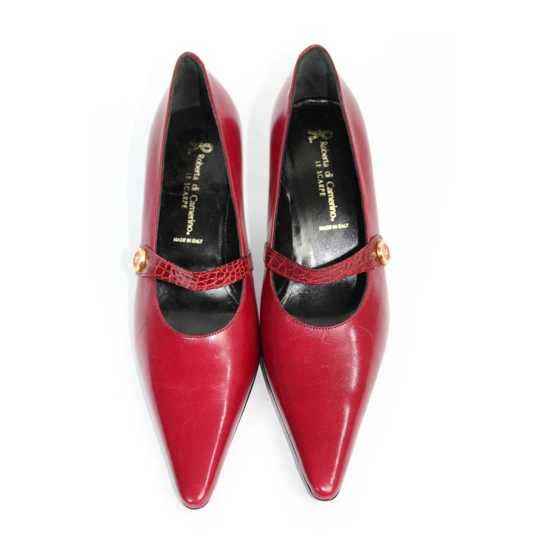 1980s Roberta Di Camerino Red Leather Pumps Heels Shoes NWT In New Condition For Sale In Brindisi, Bt