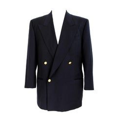 1990s Valentino Blue Wool Double Breasted Jacket
