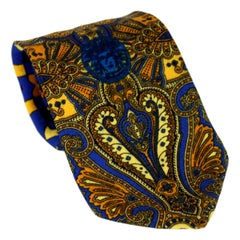 1980s Gianni Versace Tie Silk Baroque Vintage Blue Gold
