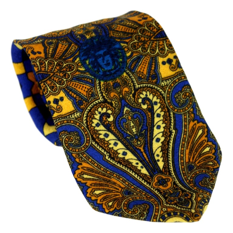 1980s Gianni Versace Tie Silk Baroque Vintage Blue Gold For Sale