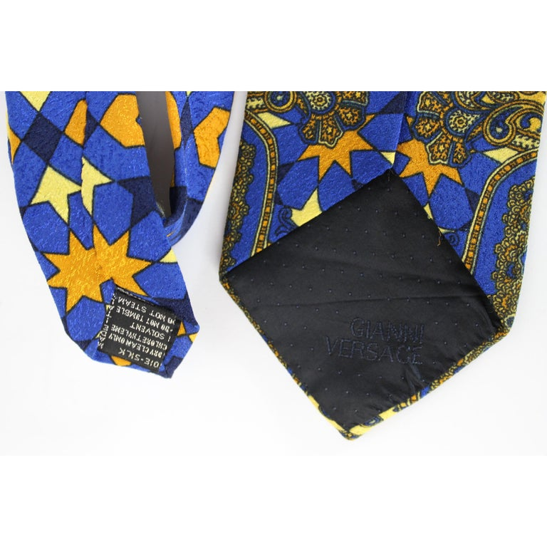 1980s Gianni Versace Tie Silk Baroque Vintage Blue Gold For Sale 1